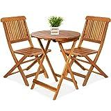 LUGEUK 3 Piezas de Conjunto de tabernas de Madera de Acacia, Muebles de Patio Plegables con 2 sillas, Mesa, Teca de Superficie Natural