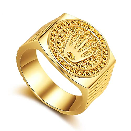 Naisicatar Hip Hop Ring Band geschnitzt Coronet Diadem für Männer Frauen Valentines Day Hochzeit Engagement Party Geburtstag Goldene Größe 9