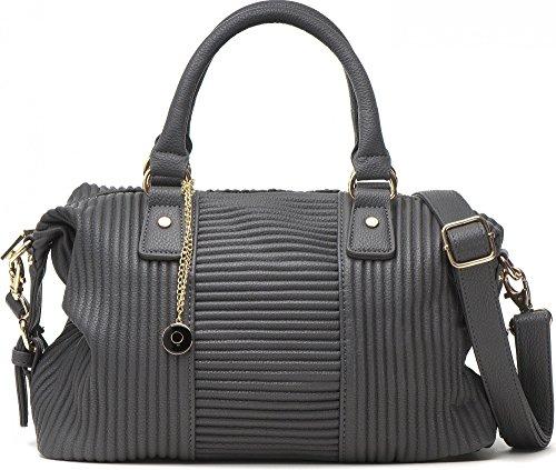 MASQUENADA, borsa da donna, Borsa con manico, Borsa a mano, Borsa a tracolla, 33x24,5x13cm (LxHxP),Colore:Grigio