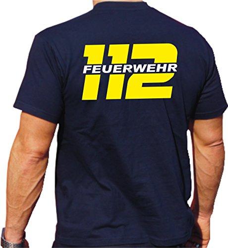 feuer1 T-shirt Inscription FEUERWEHR 112 réfléchissante des deux côtés Jaune fluo/argenté Bleu marine bleu marine XXXL