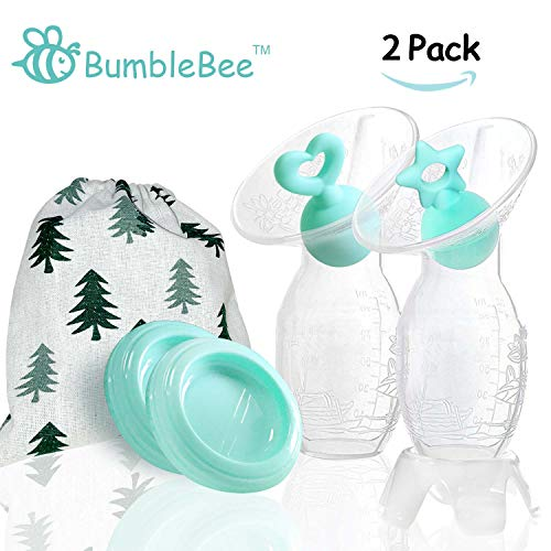 Bumblebee Manual Breast Pump with 2 Pack Breastfeeding Milk Saver Light Blue Star & Heart Stopper &...