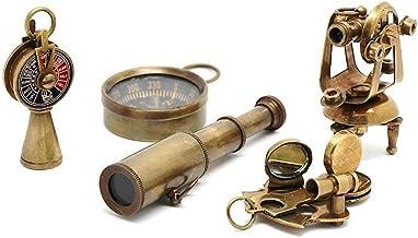 AI | Nautical Gift 5 Pcs. Antique Set. (1 Telescope + 1 Compass + 1 Theodolite + 1 Sextant + 1 Telegraph)