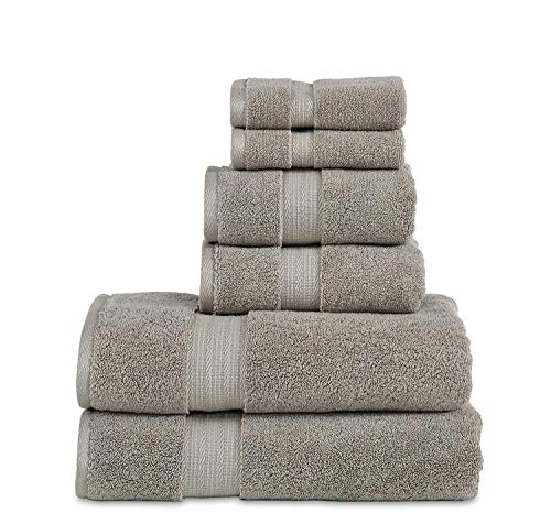 """800 GSM 6 Piece Towels Set, 100% Cotton, Premium Hotel & Spa Quality, Highly Absorbent, 2 Bath Towels 27"""" x 54"""", 2 Hand Towel 16"""" x 28"""" and 2 Wash Cloth 12"""" x 12"""". Grey Color"""