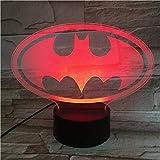Luces de noche LED 3D Batman Figura 3D Ilusión óptica Luz de mesa Lámpara de humor Toque 7 colores Luz de hogar Novedad Regalos 3D