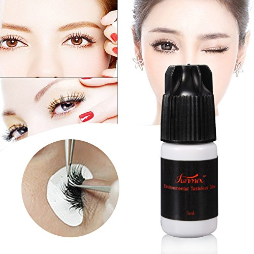 MEJOY Eyelash Glue, No Smell No Stimulation of Professional Eyelash Glue Eyelash Extension Glue Black-5ML