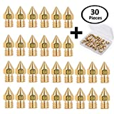 30 Pieces 0.4mm MK8 Extruder Nozzle - Wellerly M6 MK8 3D Printer Nozzles Brass Print Head with Free Storage Box for 3D Printer Makerbot Anet A8 Creality CR-10 CR-10S S4 S5 Ender-3 5