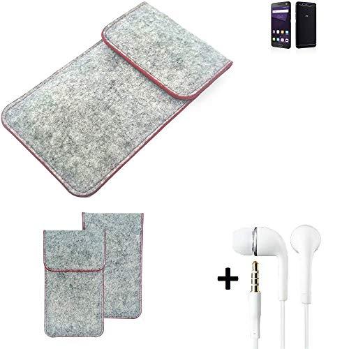 K-S-Trade® Handy Schutz Hülle Für ZTE Blade V8 64 GB Schutzhülle Handyhülle Filztasche Pouch Tasche Hülle Sleeve Filzhülle Hellgrau Roter Rand + Kopfhörer