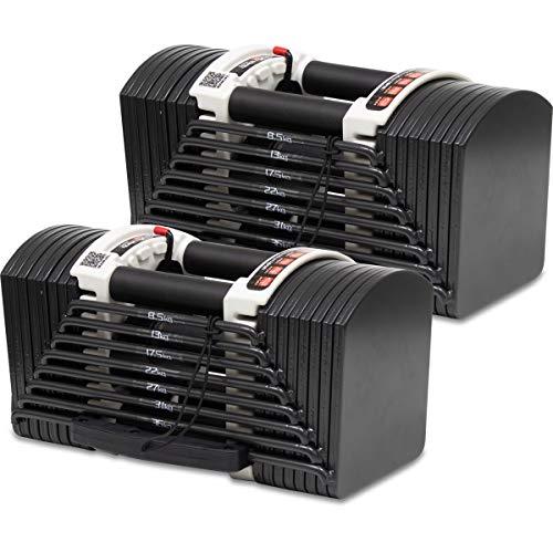 FIELDOOR 可変式 クイックダンベル/ブロックダンベル 40.5kg 2個セット 最小3kgから最大40.5kg アジャスタブルダンベル 簡単重量変更 27段階調節 コンパクト