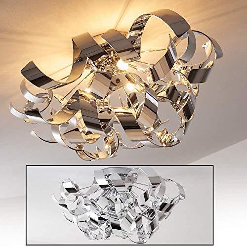 Deckenlampe Izmir, florales Dekor, spiralförmige Deckenleuchte aus Metall in Chrom mit gedrehten Lichtleisten, 3-flammig, 3 x G9-Fassung, max. 33 Watt, für Wohnzimmer, Schlafzimmer, Küche, Flur