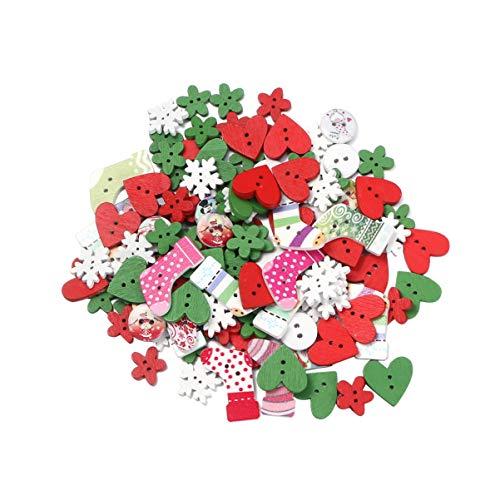 Amosfun 120 Piezas Botones de Madera de Navidad Material de Artesanía Bricolaje Accsesorios de Navidad Tamaño Aleatorio