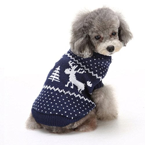 GWELL Hund Hundepullover Hundepulli Winter Strickpullover Sweater Cardigan Weihnachten Fasching Kostüme für kleinen großen Hund Katze Blau Elch L