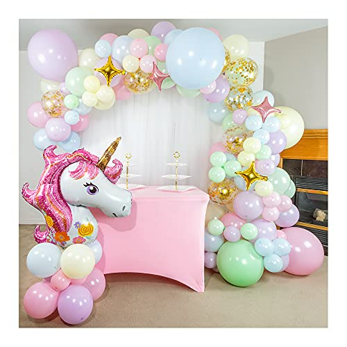 Shimmer and Confetti 133 Pack 16ft Premium Pastel Rainbow Unicorn Balloon Arch & Garland Kit with Pink, Purple, Yellow, Green, Blue Balloons, Confetti Balloons, 16ft Tape, Glue, Tying Tools