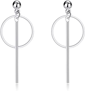 Eiffy Minimalist Geometric Square Round Hoop Triangle Long Bar Tassel Drop Earrings for Women Jewelry