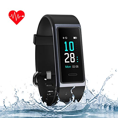 Muzili Fitness Tracker Heart Rate Monitor IP68 Waterproof Smart Fitness Band Watch with Sleep Monitor Step Calorie Counter Stopwatch Call Message Notification for Women Men Boys