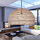 Wicker Weave Pendant Lamp, Retro Japanese Style E27 Chandelier Hanging Light Ceiling Lighting Fixture Dome Hanging Ceiling Lamp for Living Room Bedroom Restaurant Cafe Teahouse Bar Dining Room Club