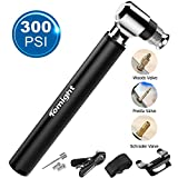 Tomight Mini Bike Pump, 300 PSI Hand Pump with Frame, Accurate Fast Inflation