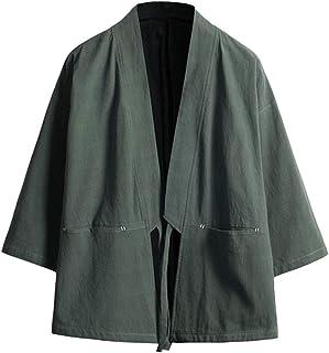 Zhhlinyuan Japanese Harajuku Style Open Front Cardigan Men Vintage Kimono Jacket Blended Cotton