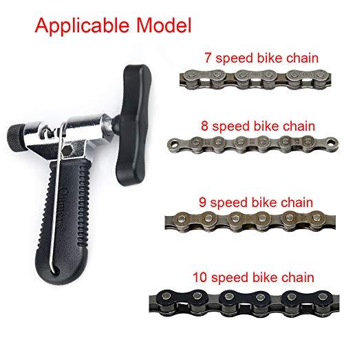HO2NLE Kettennieter Fahrrad Kettenwerkzeug Bike Chain Tool mit Ketten Haken Universal für 7/8/9/10 Speed Kettenglied Reparatur Entfernung Edelstahl Schwarz - 3