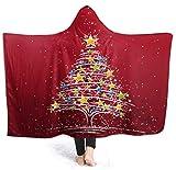Manta de árbol de Navidad con Capucha 50'x40' Manta de Abrigo de Terciopelo de Lujo Súper Suave y acogedora Manta de Siesta cálida Poncho para Sala de Estar Dormitorio Dormitorio