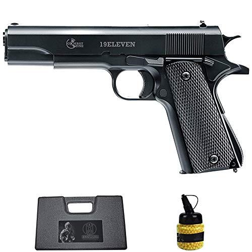 Pistola 19Eleven (6MM) | Arma Corta de Airsoft (Bolas de plástico) Tipo Colt 1911 + maletín PVC + biberón