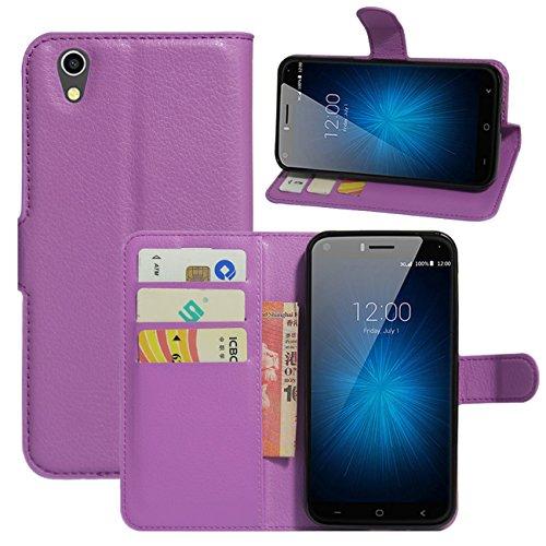 HualuBro UMIDIGI London Hülle, [All Aro& Schutz] Premium PU Leder Leather Wallet Handy Tasche Schutzhülle Hülle Flip Cover mit Karten Slot für UMIDIGI London 5.0 Inch 3G Smartphone (Violett)