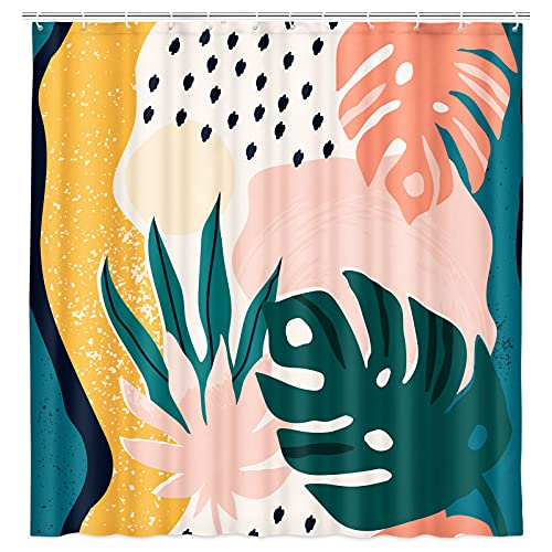 JAWO Abstract Fabric Shower Curtain, Tropical Jungle Leaves and Geometric Cute Shapes Shower Curtain with Hooks, Mid Century Modern Bath Curtain 69W X 70L Inch