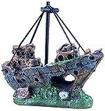 aipipl Adorno Creativo Resina Naufragio de Barco Pirata Paisajismo Tanque de Peces Decoración de Acuario Deacute; Adornos de Cor