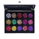 Sombra de Ojos Brillante, 15 Colores Sombra de Ojos Glitter Paleta de Maquillaje Profesional Paleta Ultra Maquillaje Cosmética del Color Caliente