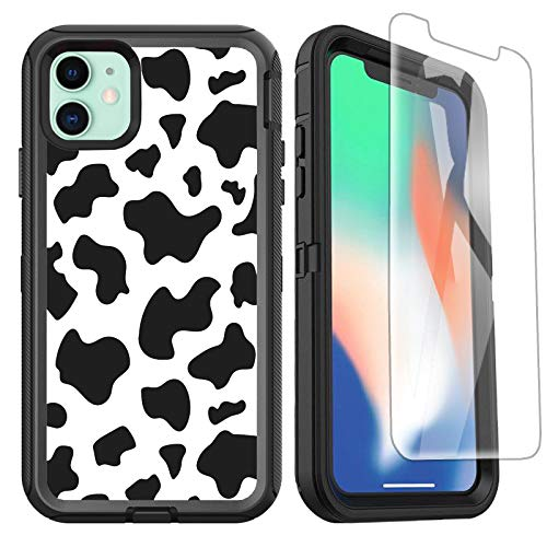 OTTARTAKS iPhone 11 Case with Screen Protector, Cow Print Full Body Rugged Heavy Duty iPhone 11 Case Cute Luxury Design, Shockproof 3-Layer Defender Protective Case for iPhone 11 6.1inch