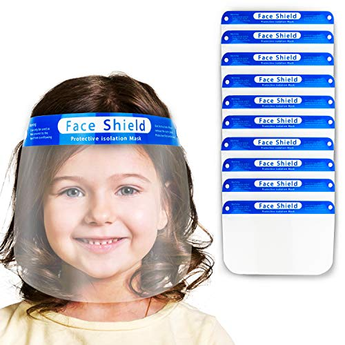 V by Vye | Kids Anti-Fog Face Shields | 10 Pack Protective Corrosion-Resistant Lens, Lightweight Transparent Safety Shield with Elastic Band | For Children - Ships Direct from USA