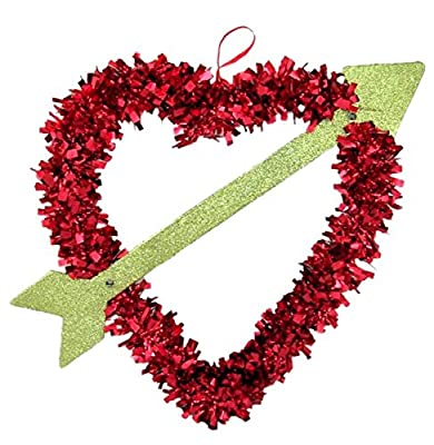 Red Tinsel Heart with Gold Glittered Cupid's Arrow Hanging Valentine's Decoration, 12 Inch