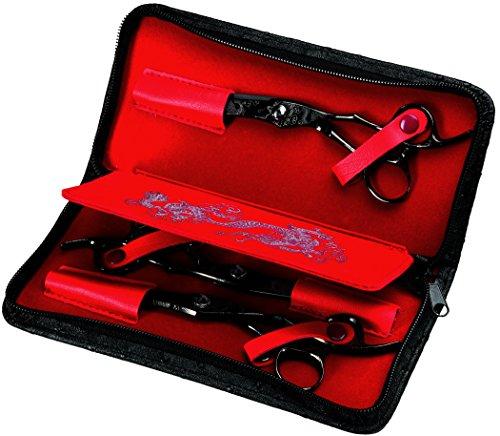 Olivia Garden Dragon Scherenset mit 3 Scheren für Rechtshänder