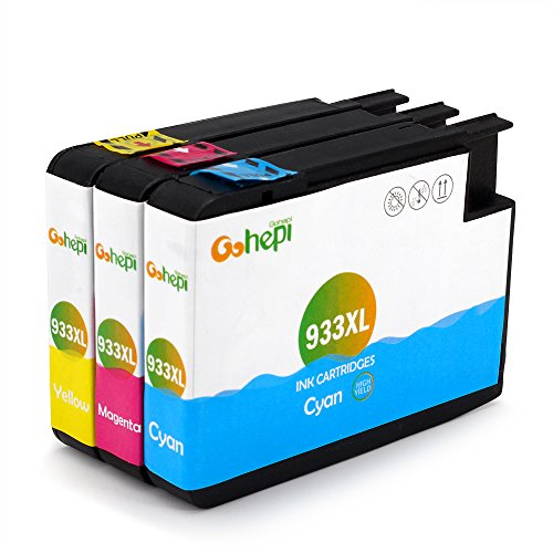 Gohepi 933XL Compatibile per Cartucce HP 933XL 933 HP Officejet 6700 Premium 7612 7610 6600 7110 6100 - Ciano/Magenta/Giallo Confezione da 3