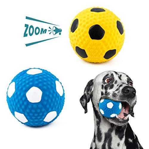 QUACOWW 2 Stück Quietschendes Hundespielzeug Ball, Kauspielzeug, Weiches Latex, Langlebig für Kleine und Mittelgroße Hunde
