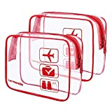 2pcs/pack Lermende Clear Toiletry Bag TSA Approved Travel Carry On Airport Airline Compliant Bag Quart Sized 3-1-1 Kit Luggage Pouch (Red)