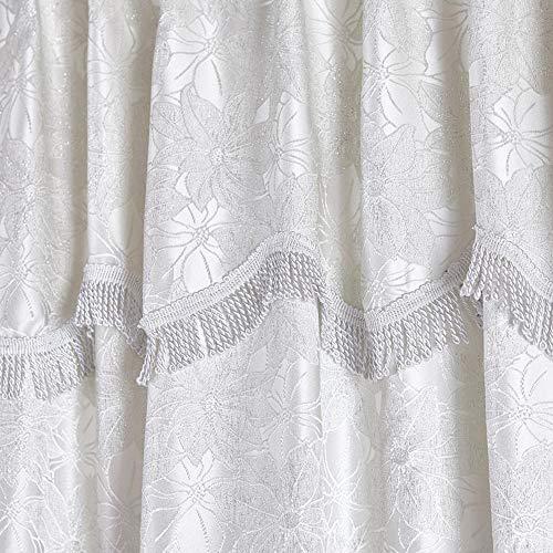 Oxford Homeware Cream Jacquard Curtains Pencil Pleat Tie Back Window Treatment Curtains Durable Fully Lined Tape Top Pencil Pleat Drapes Pelmet Curtains (Cream Maya, 90' x 108'- (228cm x 274cm))