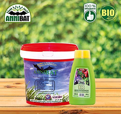 AnniBat Fledermaus Dünger Flüssiger Dünger 500 ml + 1 Kg organisch Bio Guano