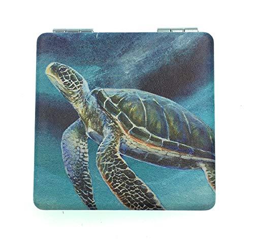 Value Arts Miroir de maquillage de voyage compact avec motif tortue de mer et grossissement 6 cm carré