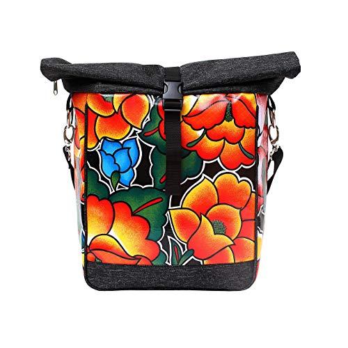 IKURI einseitige Fahrradtasche für Gepäckträger Satteltasche Einzeltasche Packtasche, abnehmbar, mit Klickfix Vario Haken, mit Tragegurt, aus Wachstuch, Damen, Wasserdicht, Modell Tehuana Schwarz
