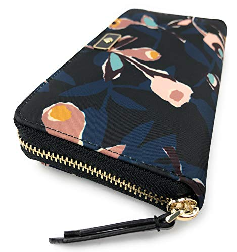 Kate Spade Wallet Dawn Paper Rose Black Multi Continental Nylon Wallet