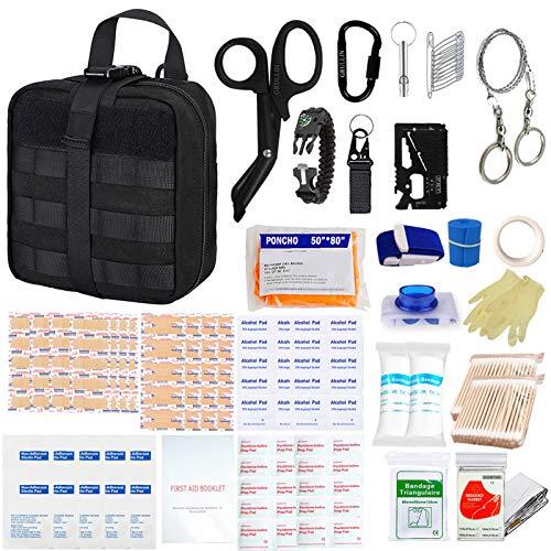GRULLIN Kit de Survie de Premiers Soins, 342 Pcs Tactique Molle IFAK Pouch Kit d'urgence en Plein air Home Office Voiture Randonnée Chasse Camping Aventure(Noir)