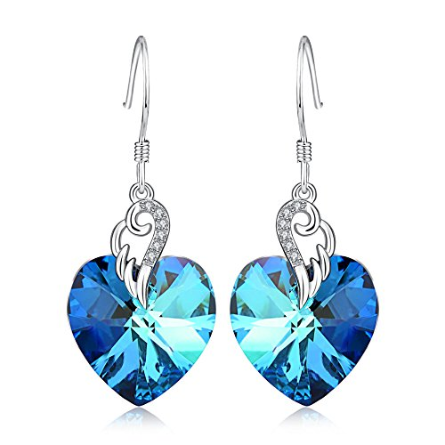 Love Heart Earrings 925 Sterling Silver Angel Wing Dangle Drop Earrings with Blue Swarovski Crystals, Birthday Anniversary Jewellery Gifts for Her Wife Women