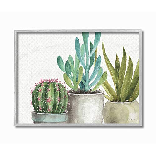 Stupell Industries Modern Succulents Pattern Green Grey Watercolor Painting Gray Framed Wall Art, 16 x 20, Multi-Color