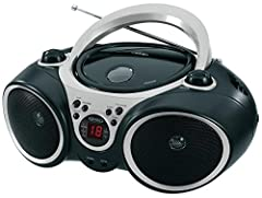 ► Top Loading CD Player, CD-R/RW Compatible, LED CD Track Display ► AM/FM Stereo Receiver, Fold-able Carrying Handle, Telescopic Antenna, Stereo Headphone Jack ► Skip/Search, Forward and Back, Repeat 1 or All, Programmable Memory ► Auxiliary Input Ja...