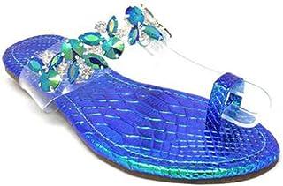 c91125f16673 Urban Heel Women s Rhinestone Jeweled Holo Clear Strap Toe Ring Sandal  Slides