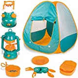 WJLED Juego De Carpa para Niños Pop Up Play, Juego De Herramientas De Juguete para Acampar Al Aire Libre (7 Piezas), Camping Portátil Plegable Simulado Gamehouse/Playhouse Adventure Station