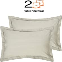"Mahaveer Cotton Oxford Pillow Cover - Set of 2-100% Cotton, 400 Thread-Count, Soft, Smooth and Wrinkle Free (18"" x 28""_Ivory Stripe)"