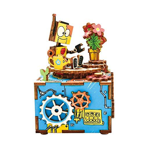 TYZY Früherziehung Spielzeug 3D Puzzle manuelle Spieluhr aus Holz Modell Kreative Geschenke Einrichtungsartikel Optional Design Geeignet für Kinder 23,5 * 15,6 * 6,55 cm,I