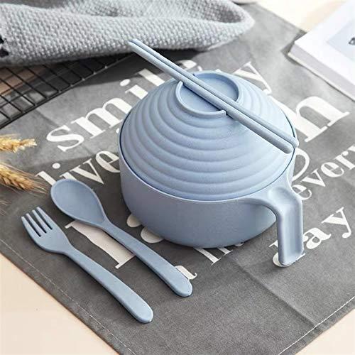 Soppa skål Japansk stil miljövänlig vete halm nudlar skål med lock och hantera dinnerware set soppa mikrovågsugare sallad ris skål Spannmålsskålar (Color : C)