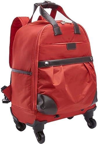 Valise Trolley en Nylon Unisexe, Sac de Voyage imperméable de Grande capacité avec 4 Roues (Couleur   rouge, Taille   M)